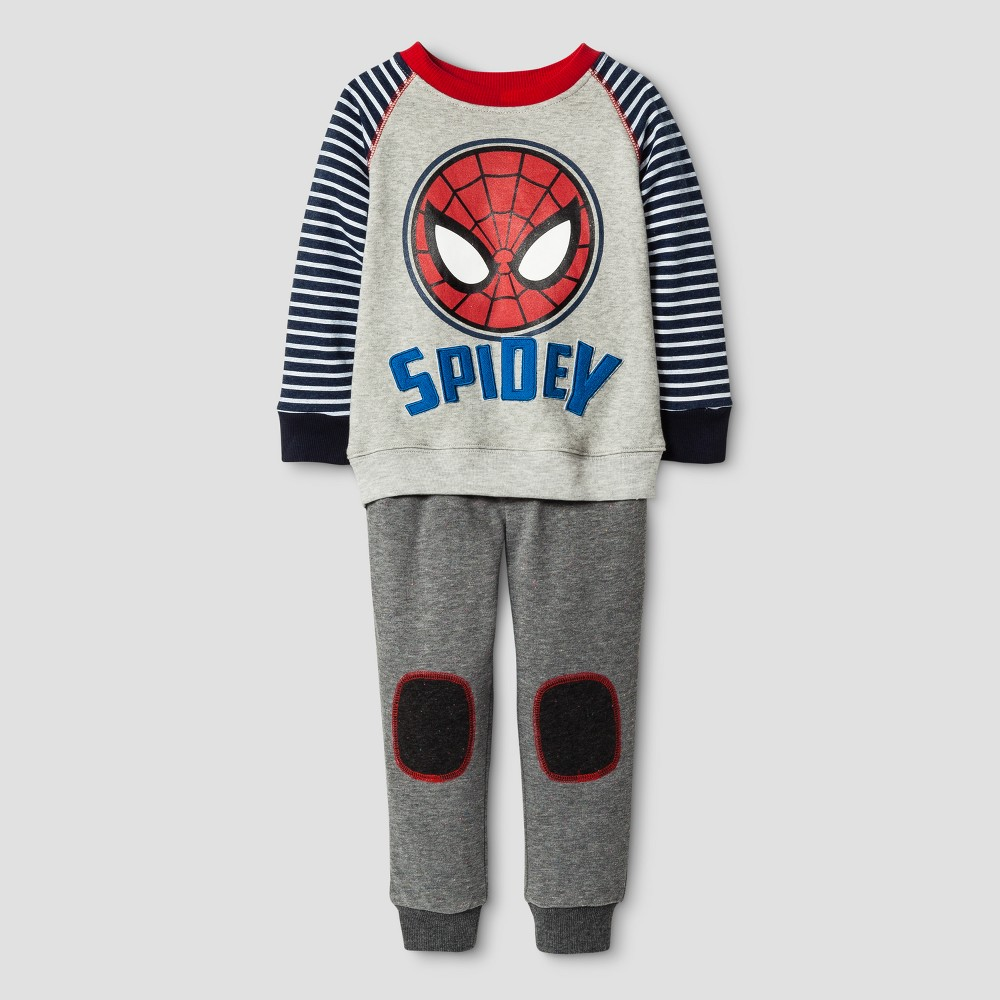 Toddler Boys Spider-Man Top And Bottom Set - Gray 5T