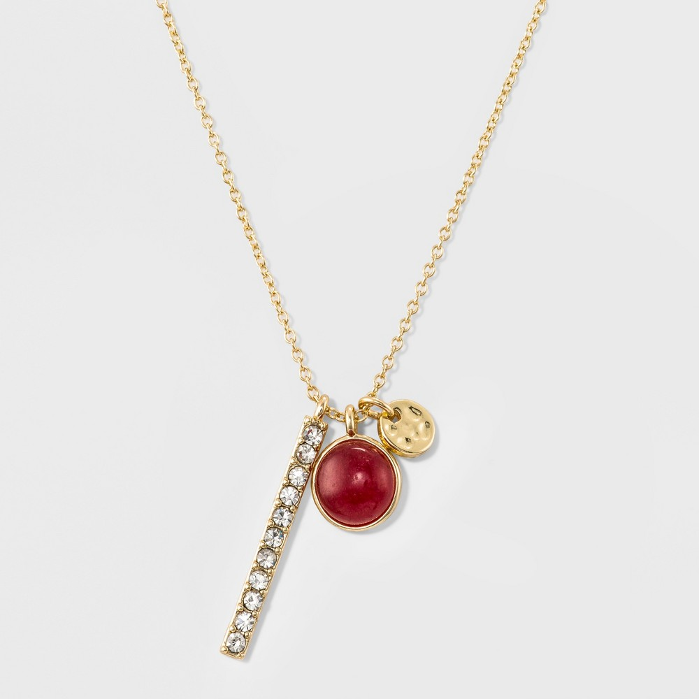 Womens Delicate July Birthstone Charm Pendant - Gold, July Birthstone Red