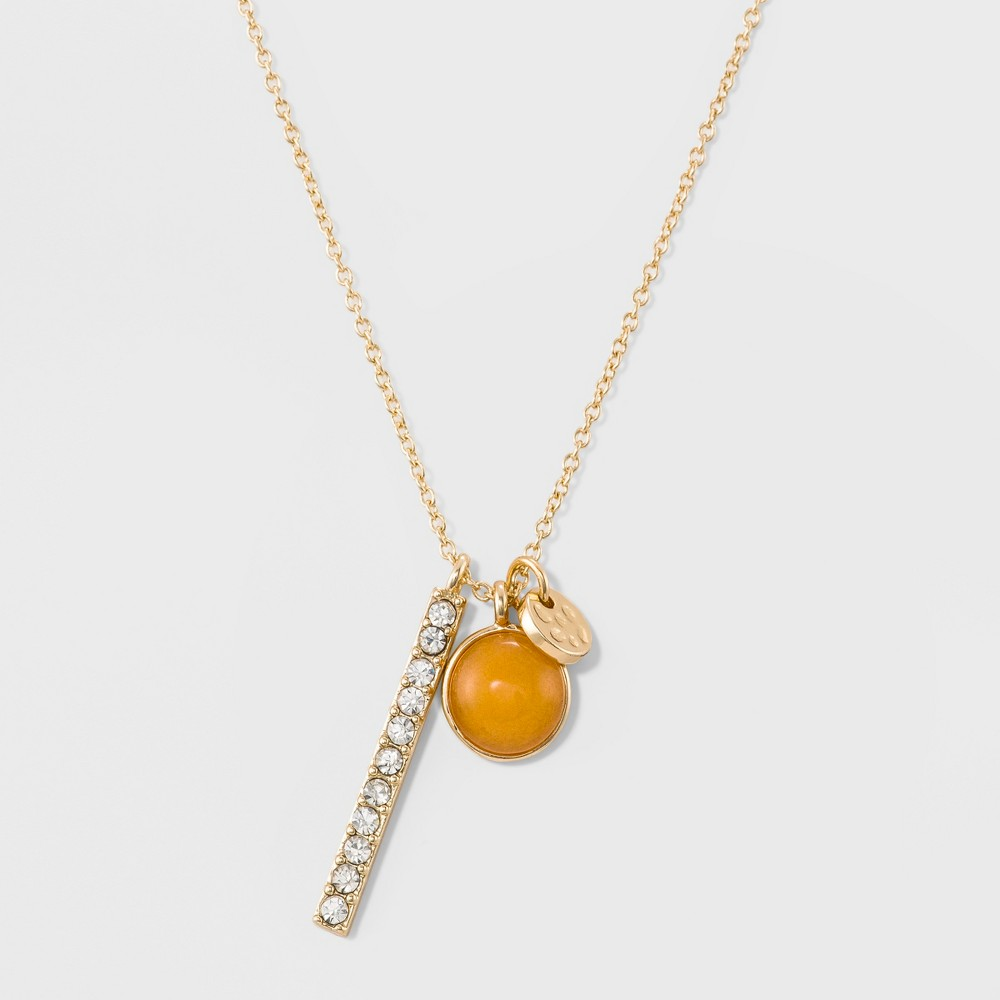 Womens Delicate November Birthstone Charm Pendant - Gold, November Birthstone Orange