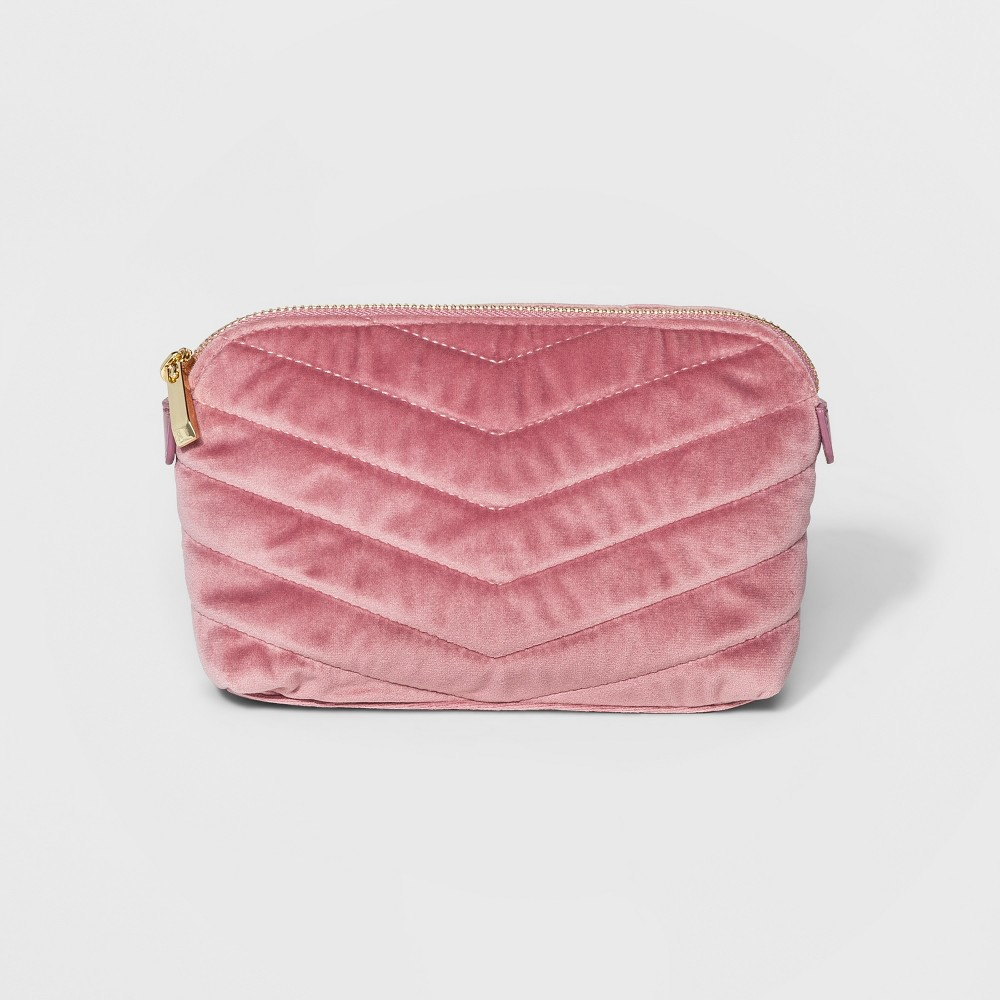 Womens Quilted Velvet Pouch - A New Day Pink