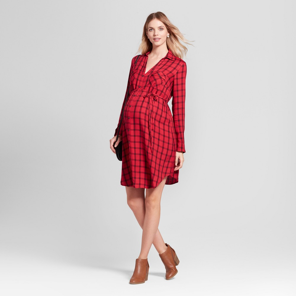 Maternity Plaid Shirt Dress - Isabel Maternity by Ingrid & Isabel Red M, Infant Girls