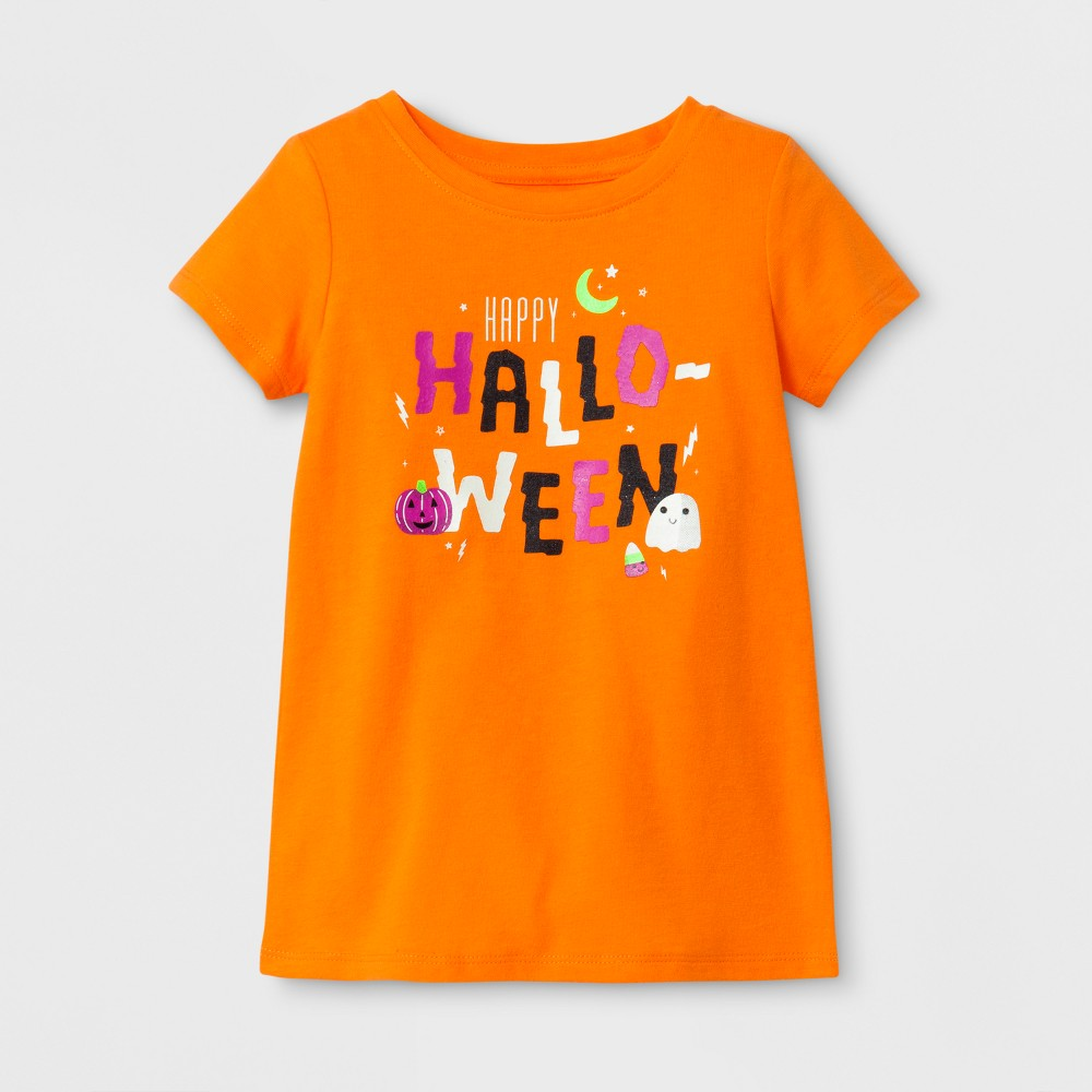 Toddler Girls Short Sleeve T-Shirt Cat & Jack Fresh Tangerine 18M, Size: 18 M, Orange