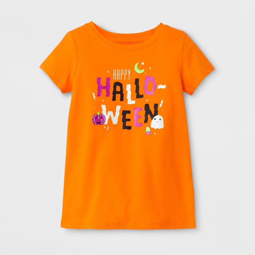 Toddler Girls Short Sleeve T-Shirt Cat & Jack Fresh Tangerine 2T, Orange