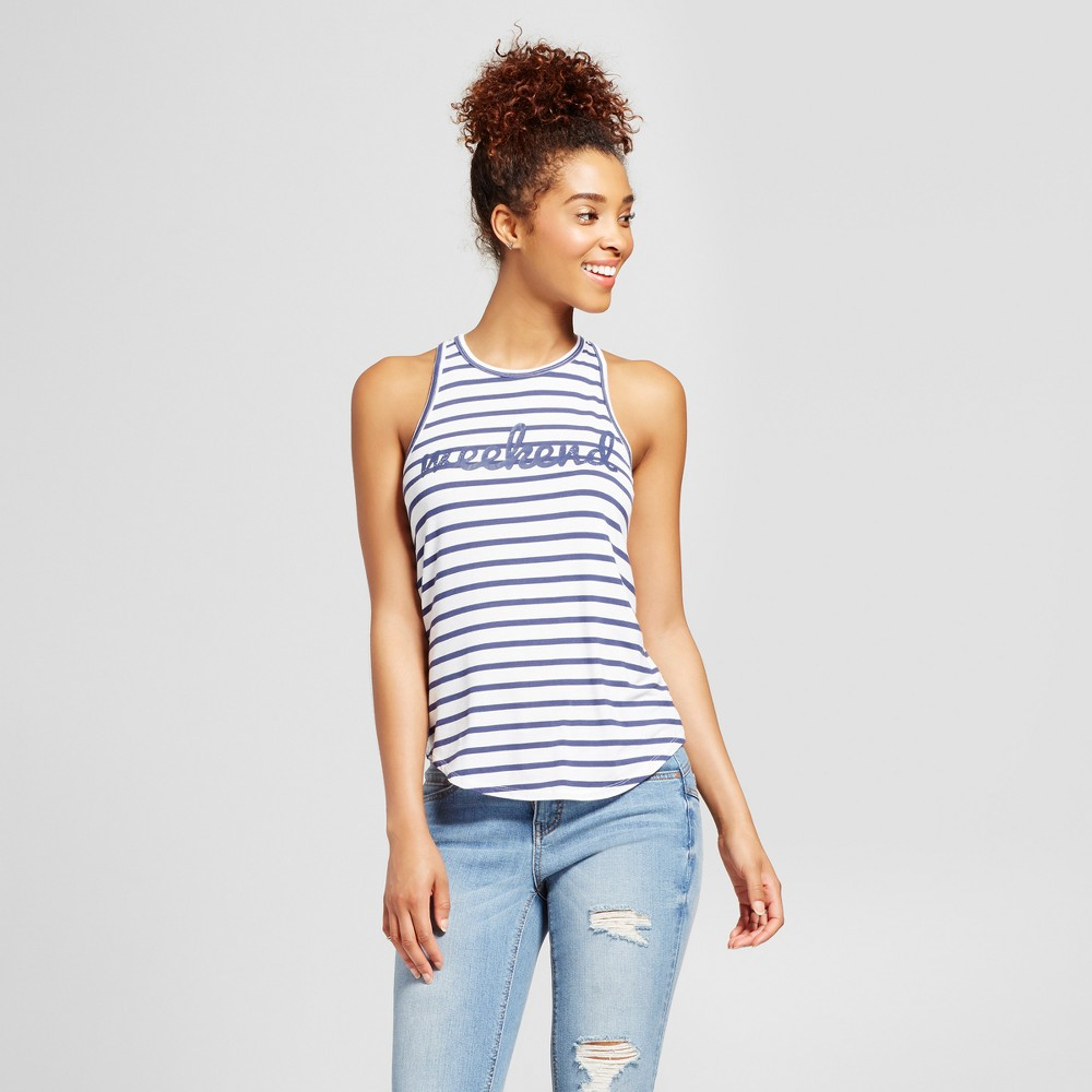 Womens Weekend Striped Graphic Tank Top Blue/White XS - Grayson Threads (Juniors)