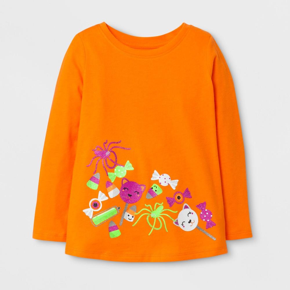 Toddler Girls Long Sleeve T-Shirt Cat & Jack Fresh Tangerine 5T, Orange