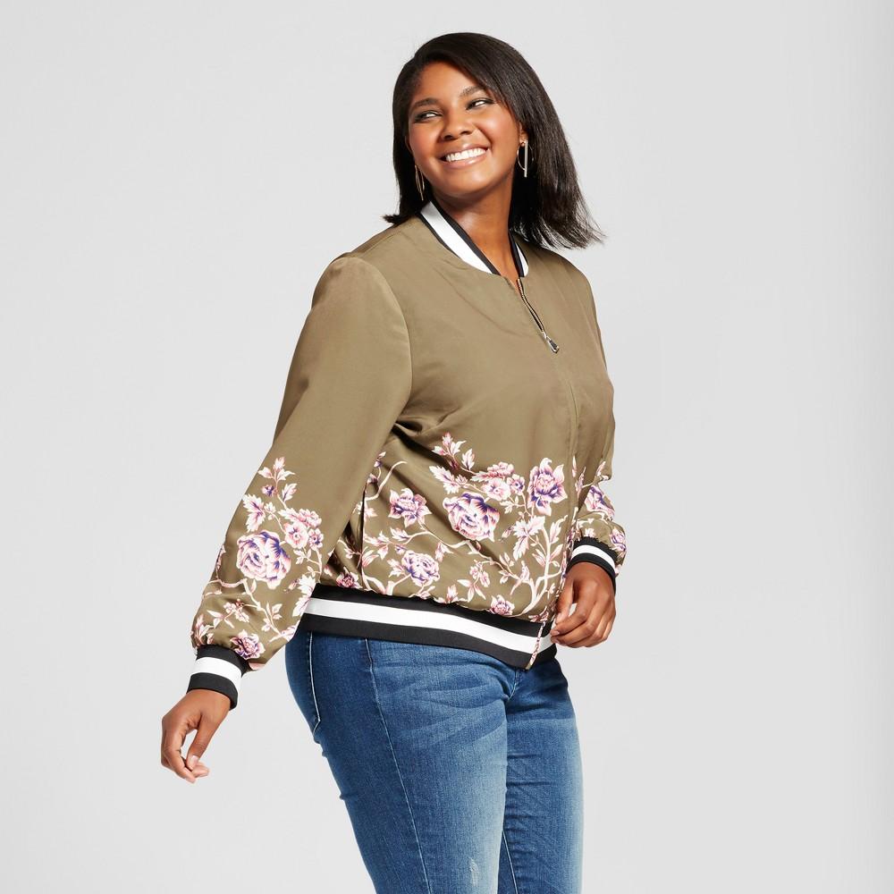 Womens Plus Size Printed Bomber Jacket - Ava & Viv Green 2X