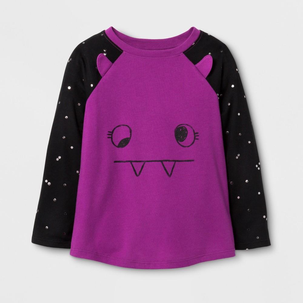 Toddler Girls Long Sleeve T-Shirt Cat & Jack Upbeat Fuschia 5T, Purple