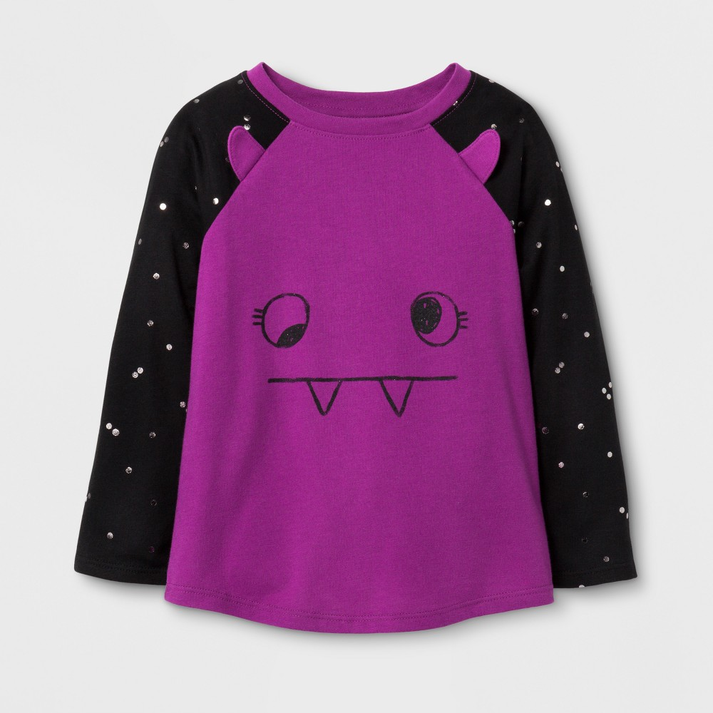 Toddler Girls' Long Sleeve T-Shirt - Cat & Jack Upbeat Fuschia 12M, Size: 12 M, Purple