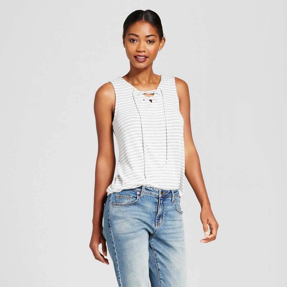 Womens Striped Sleeveless Lace Up Top - A New Day Gray M