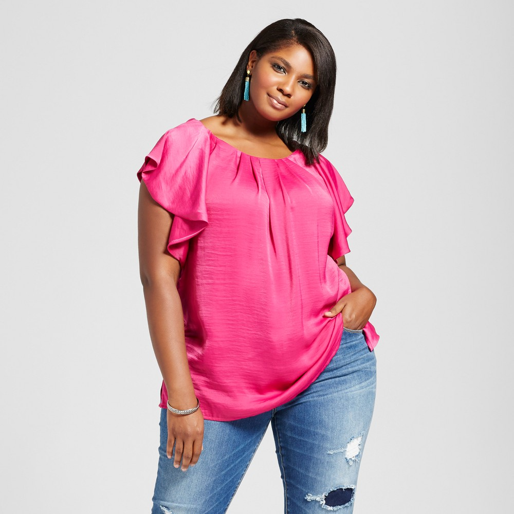 Womens Plus Size Ruffle Sleeve Top - Ava & Viv Ruby Pink 3X