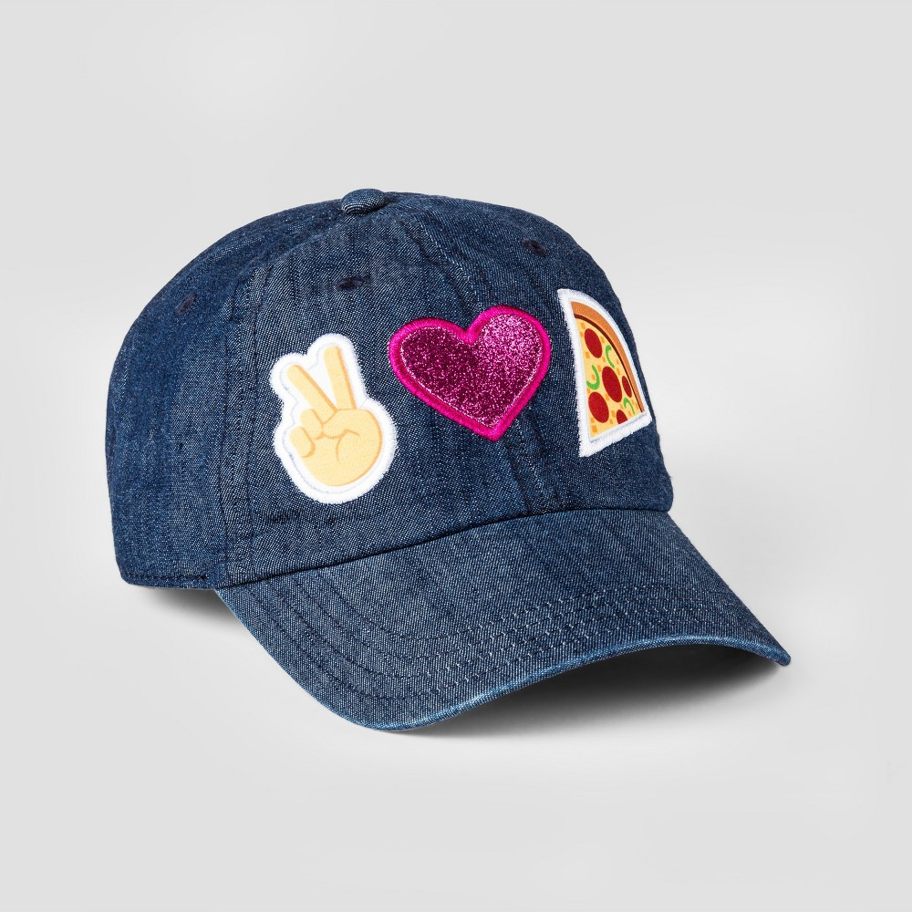 Girls Emoji Peace, Love, Pizza Baseball Hat - Blue