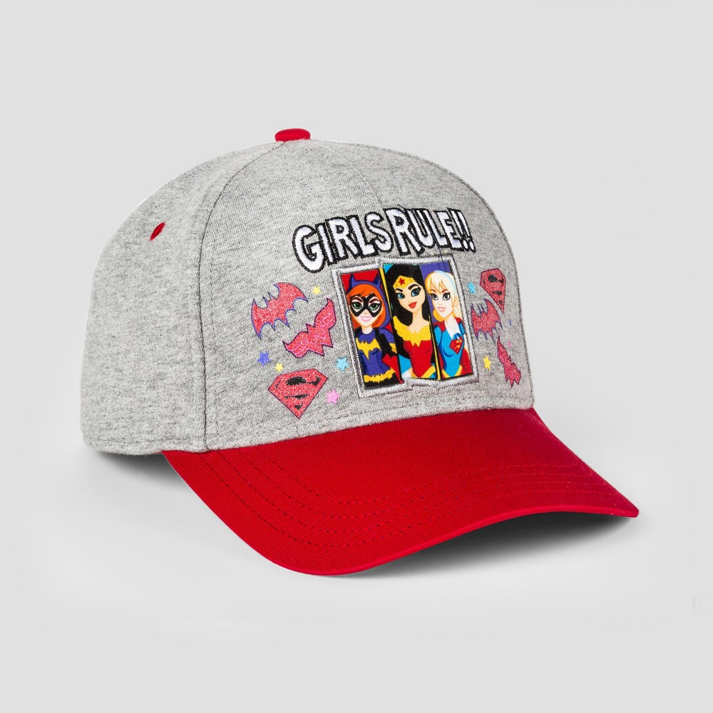 Girls Warner Bros. Justice League Girls Rule Baseball Hat - Gray/Red