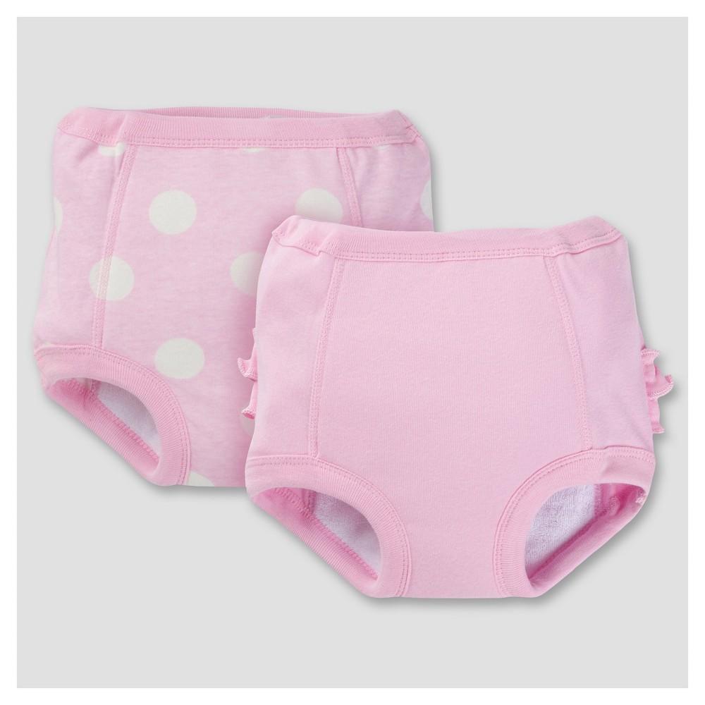Toddler Girls 2pk Training Pants with Moisture Barrier Liner - Dot 2T/3T - Gerber, Pink
