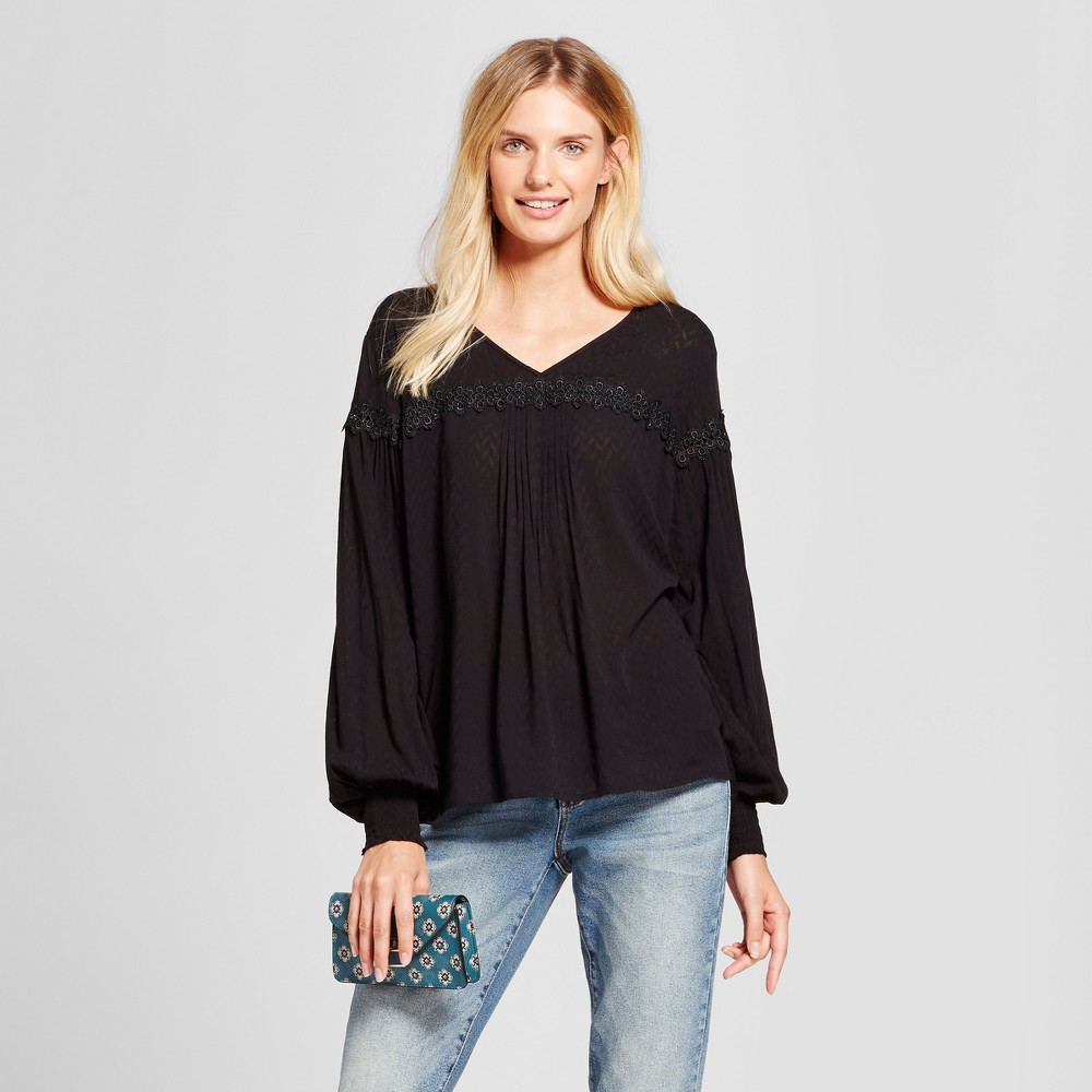 Womens Peasant Blouse - A New Day Black M