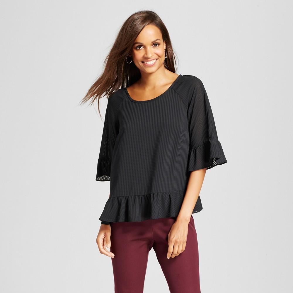 Womens Plaid Chiffon Ruffle Blouse - A New Day Black XL