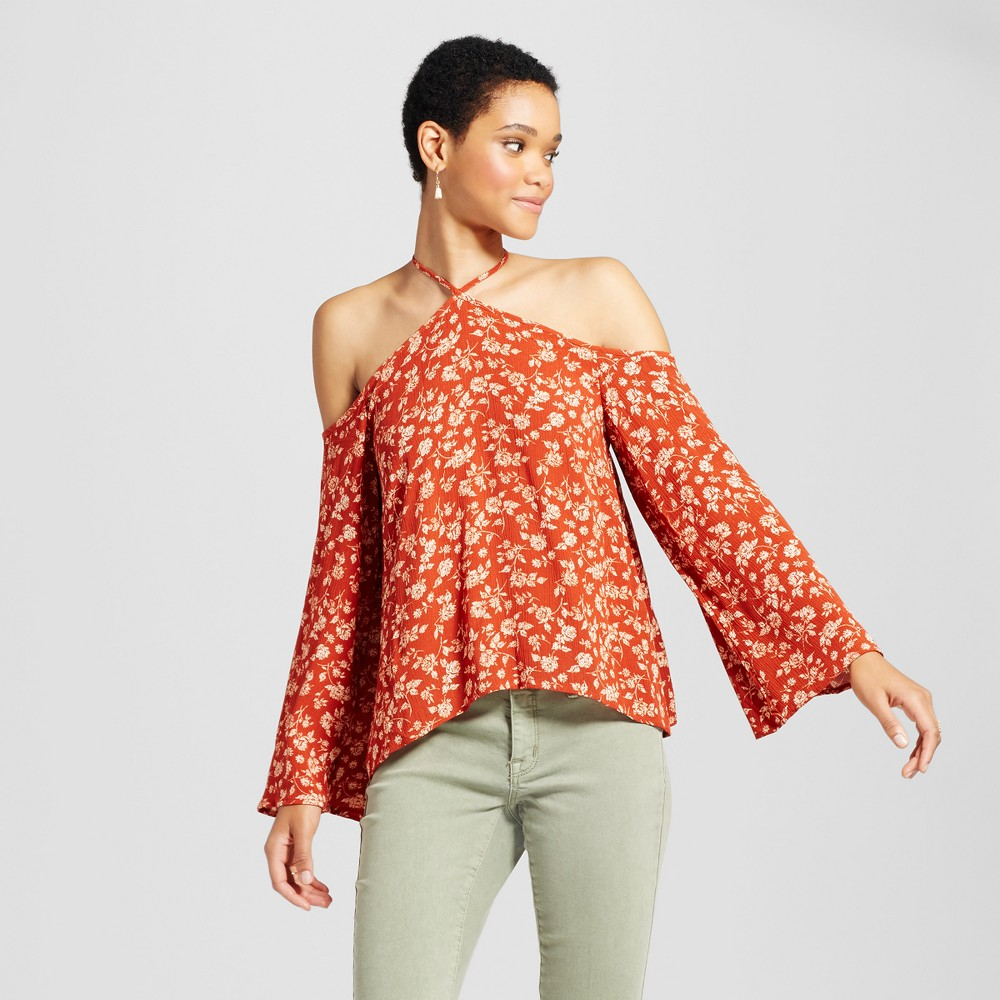 Womens Y-Neck Printed Top - Mossimo Supply Co. Rust L, Red