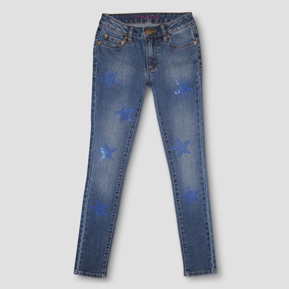 Girls Franki & Jack Crystal Star Skinny Jeans - Medium Blue L, Size: L(10-12)