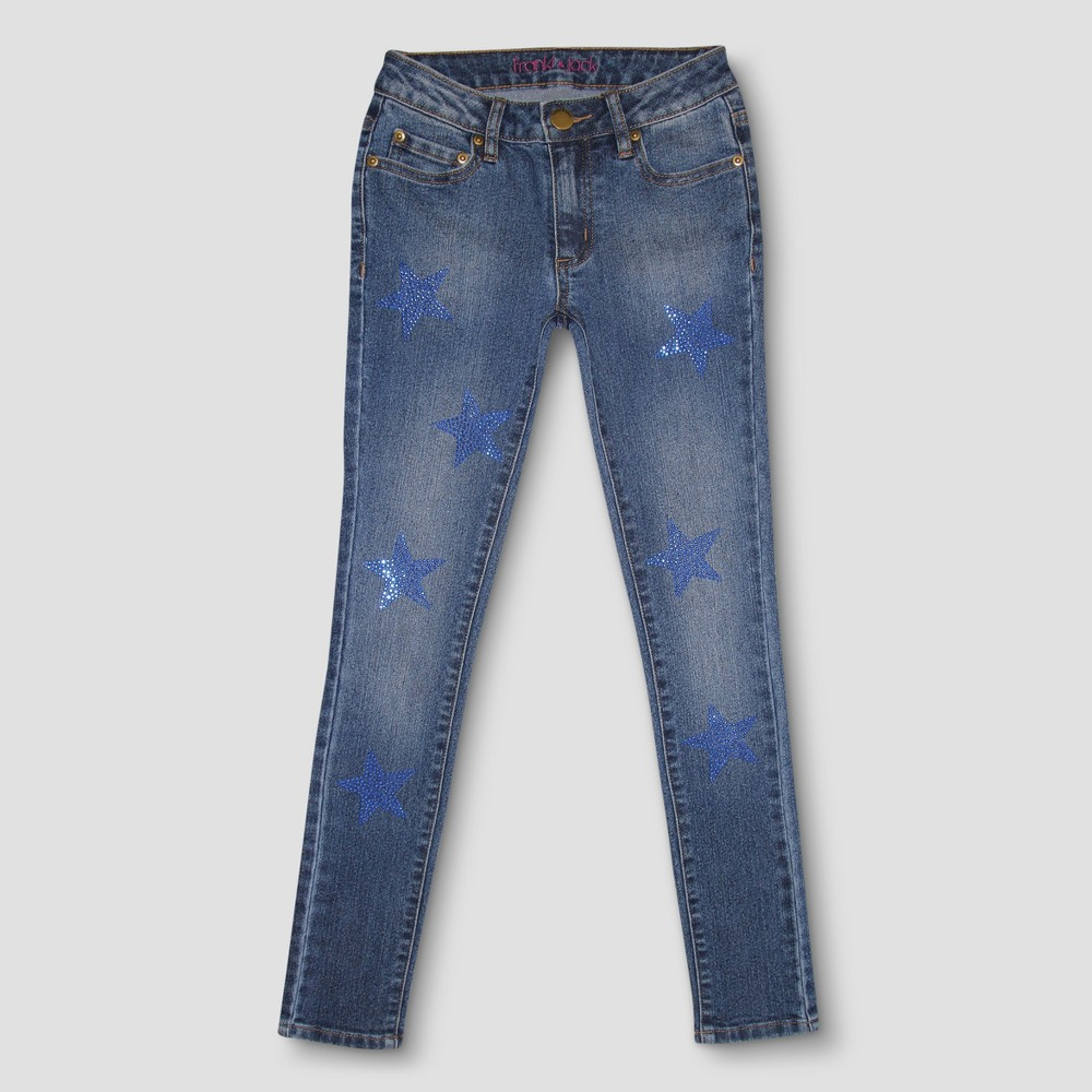 Girls Franki & Jack Crystal Star Skinny Jeans - Medium Blue XL, Size: XL(14-16)