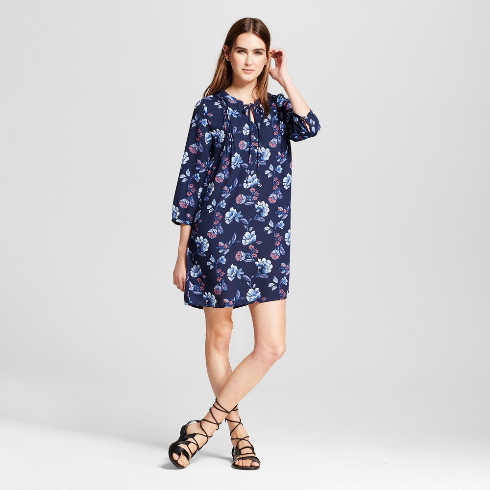 Womens Printed Long Sleeve Shift Dress - Layered with Love Blue XL