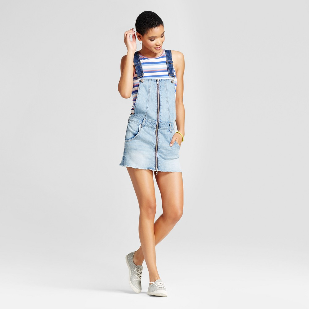 Womens Zip Front Denim Skirtall Dress - Dollhouse (Juniors) Blue L