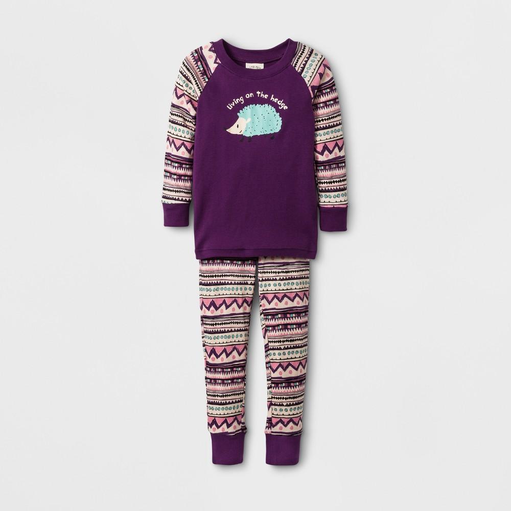 Toddler Girls Nite Nite by Munki Munki Living on the Hedge Long John Pajama Set - Purple 5T
