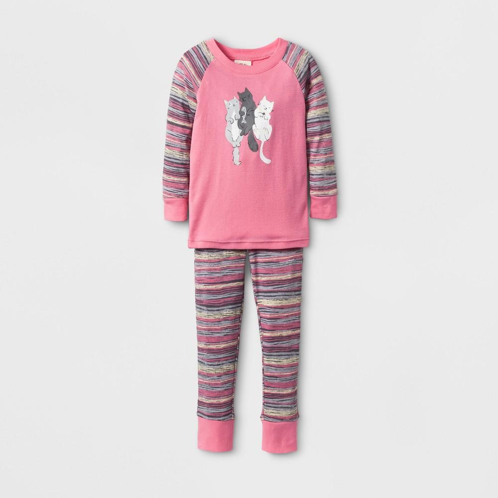 Toddler Girls Nite Nite by Munki Munki Cat Cuddle Long John Pajama Set - Pink 5T