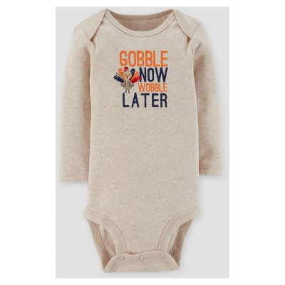 Baby Boys' Gobble Now Wobble Later Long Sleeve Bodysuit - Just One You™ Made by Carter's® Tan 3M