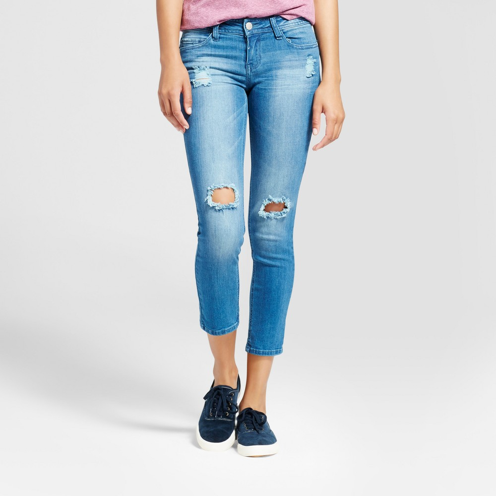 Womens Destructed Knee Raw Finish Crop Jeans - Dollhouse (Juniors) Blue 1