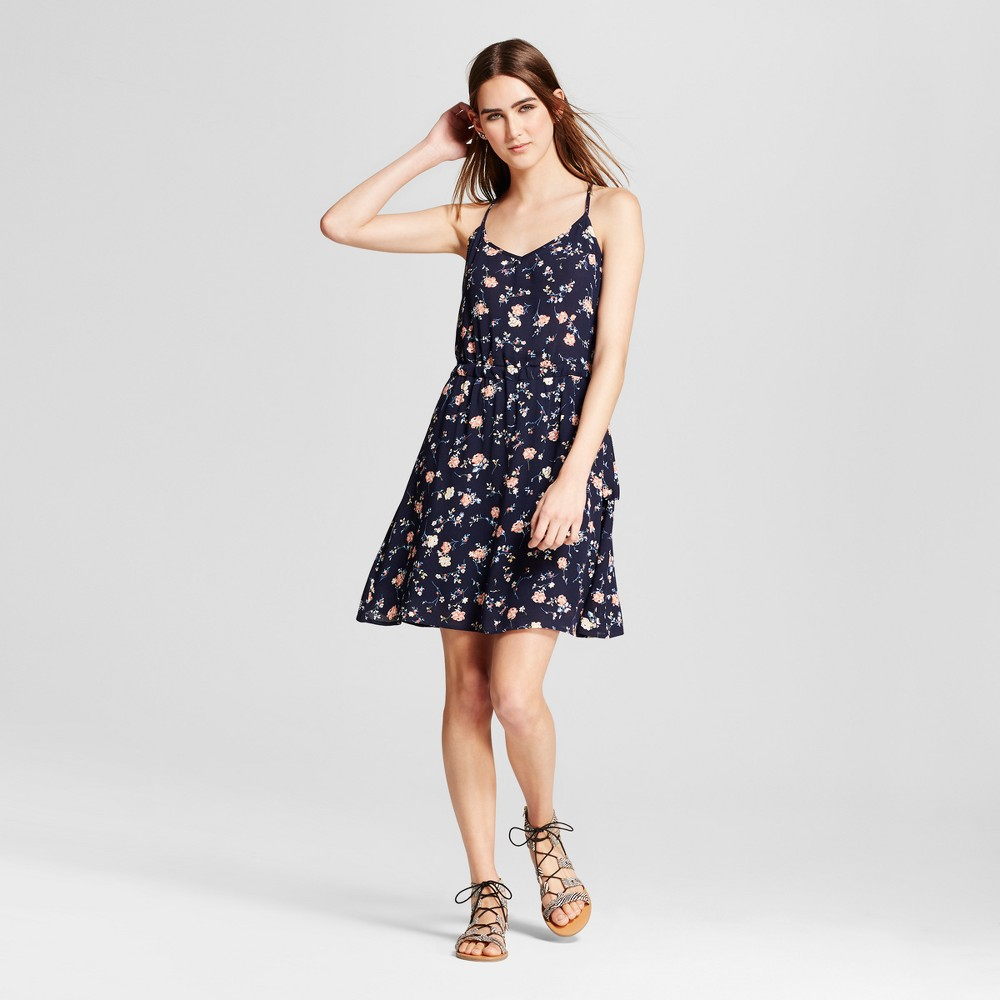 Womens Printed A-Line Dress - Layered with Love Navy Floral XL, Blue Red White