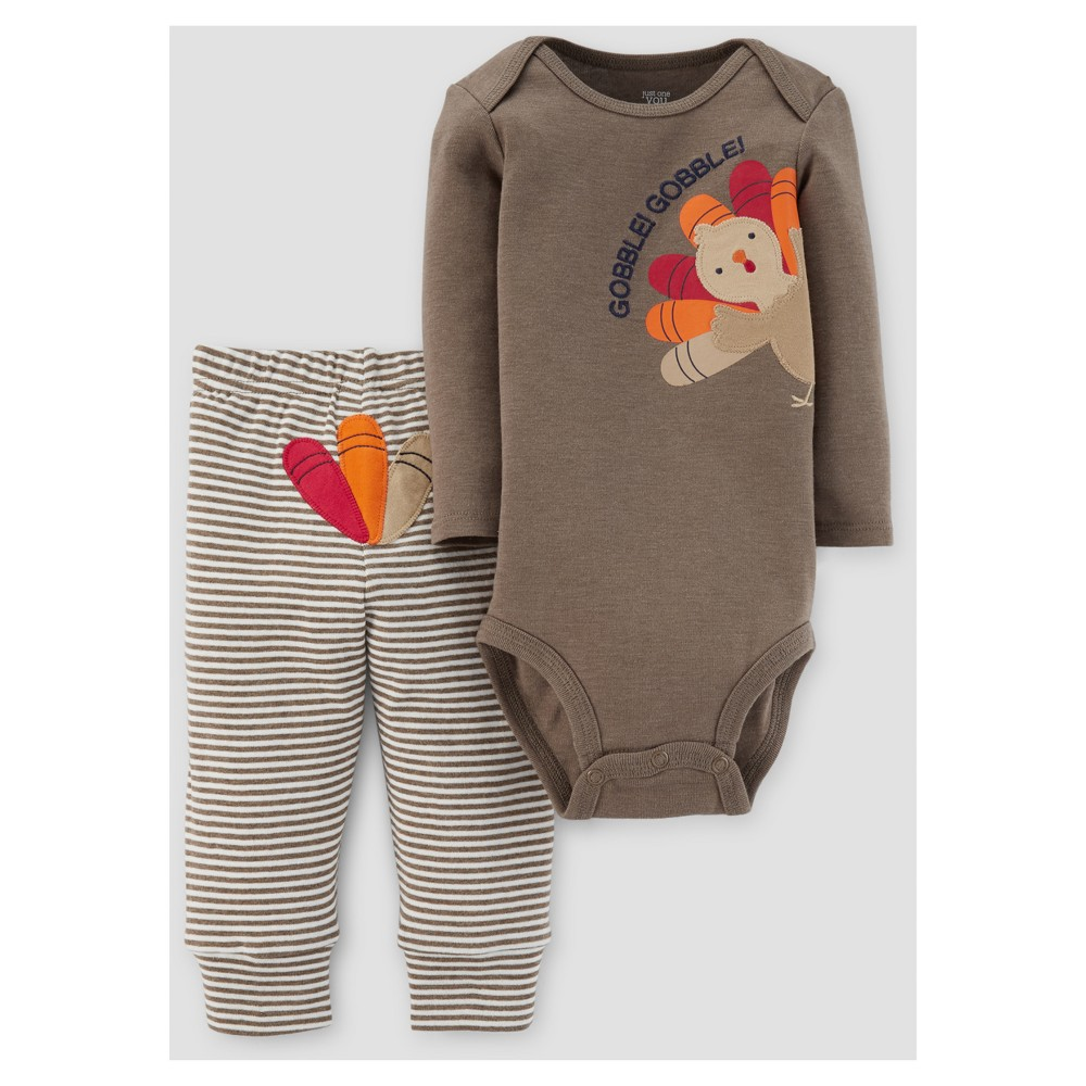 Baby 2pc Gobble Gobble Pants Set - Just One You Made by Carters Barnwood 6M, Infant Unisex, Brown