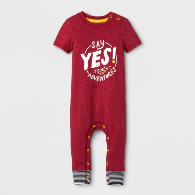 view Baby Boys' New Adventures Snap Shoulder Romper - Cat & Jack Red on target.com. Opens in a new tab.