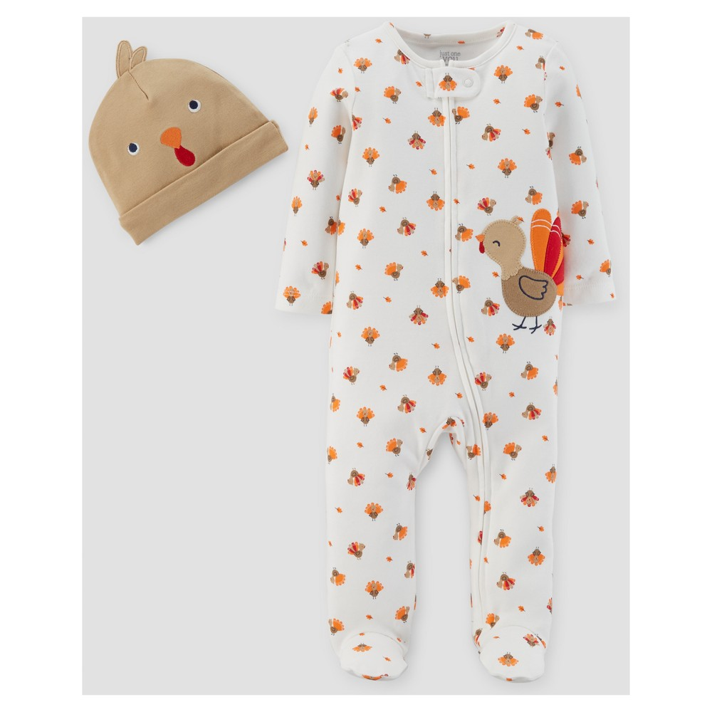 Baby 2pc Turkey Sleep N Play and Hat Set - Just One You Made by Carters White/Tan 6M, Infant Unisex