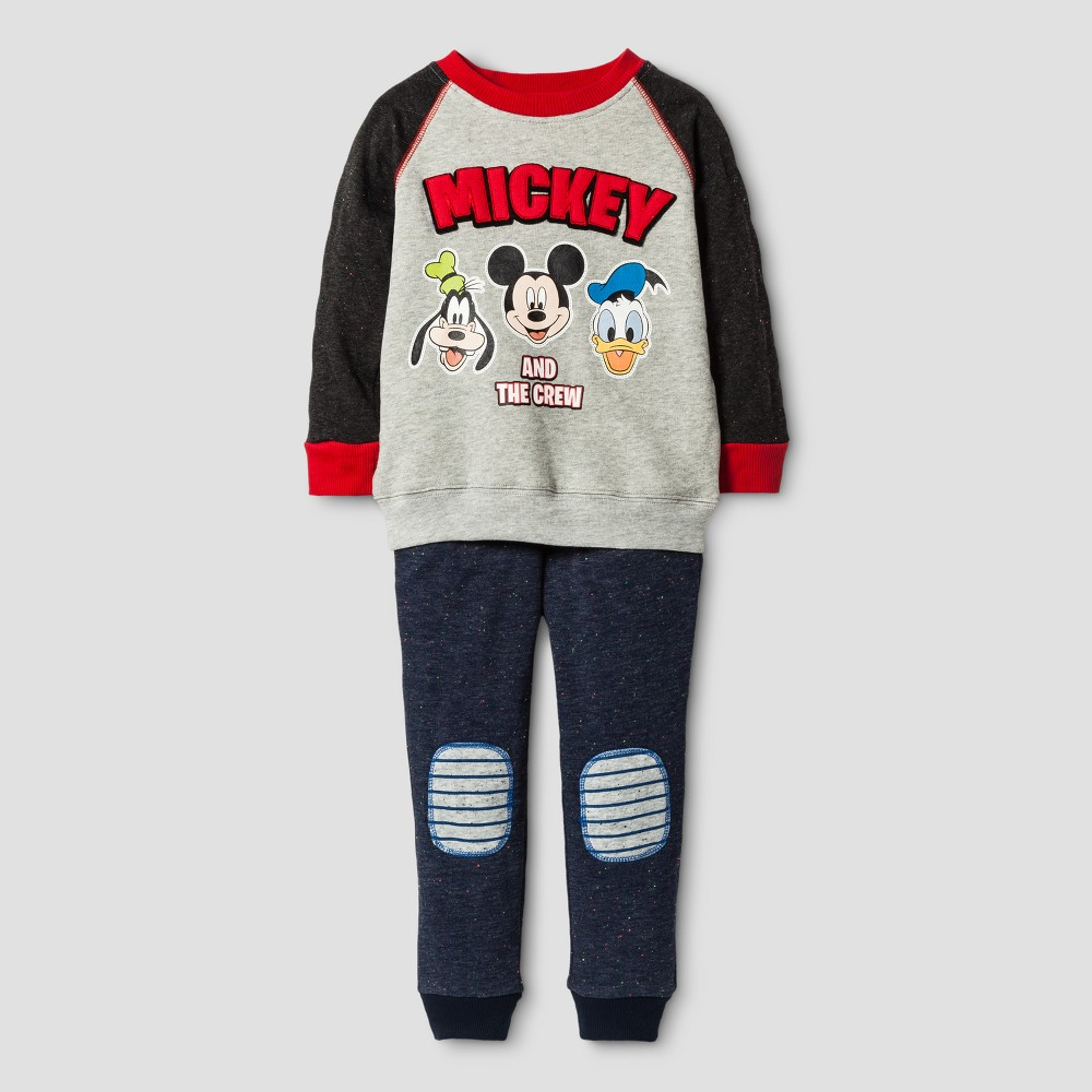 Toddler Boys Mickey Mouse & Friends Top And Bottom Sets Grey 5T, Gray