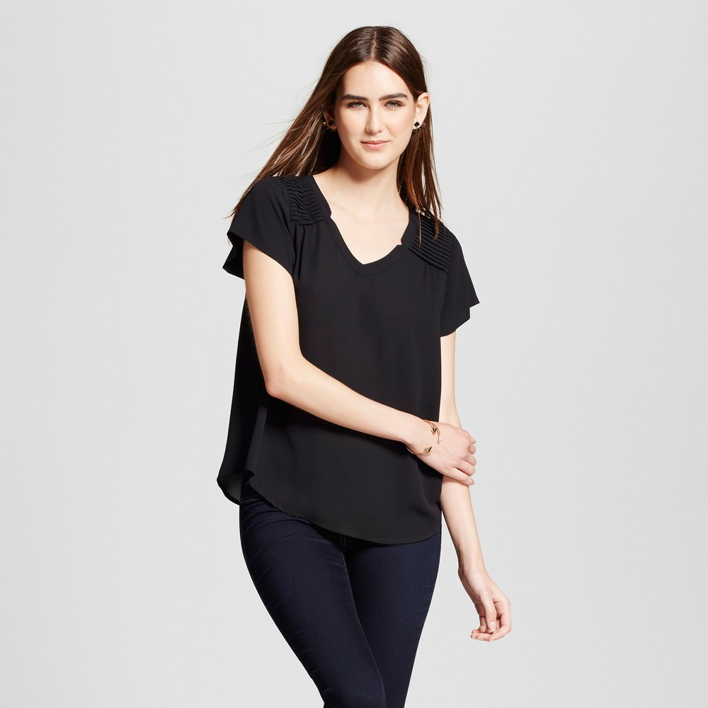 Womens V-Neck Pintucked Blouse - Layered with Love Black XL