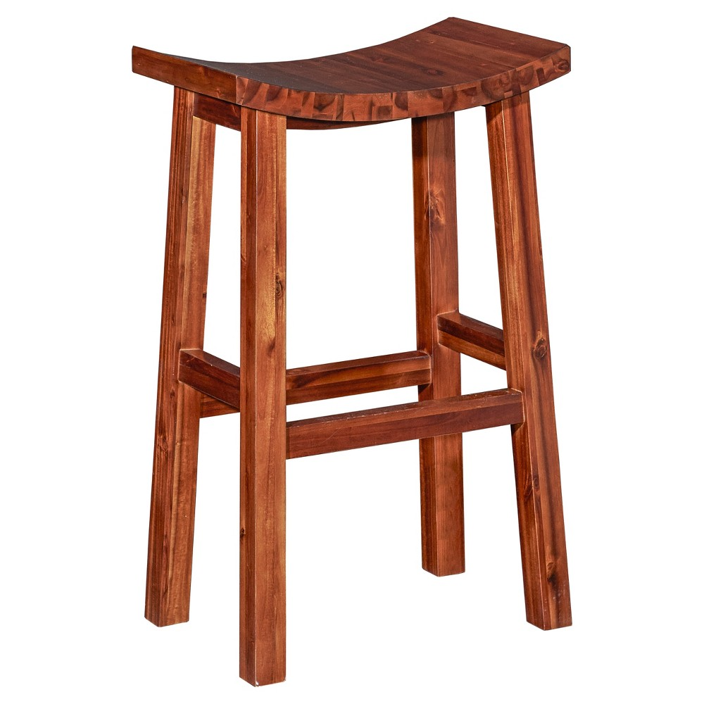 Dallas Saddle Counter Stool Dark Natural Oak Grove Collection, Brown