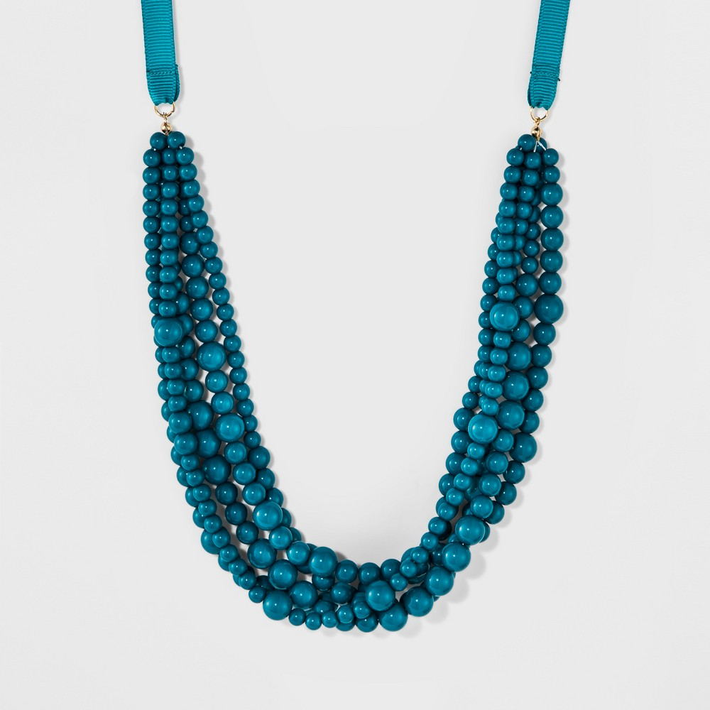 Sugarfix by BaubleBar Beaded Statement Necklace with Ribbon - Teal, Womens