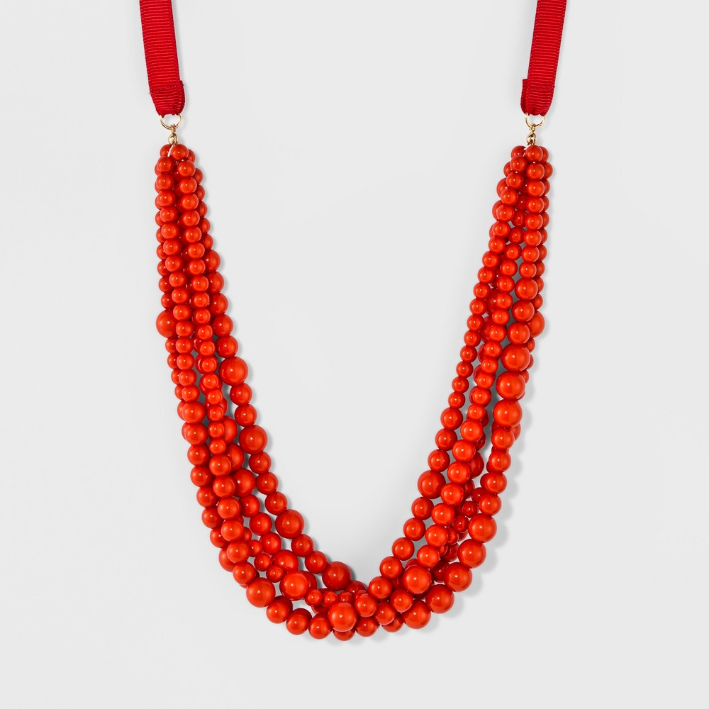 Sugarfix by BaubleBar Beaded Statement Necklace with Ribbon - Coral, Womens