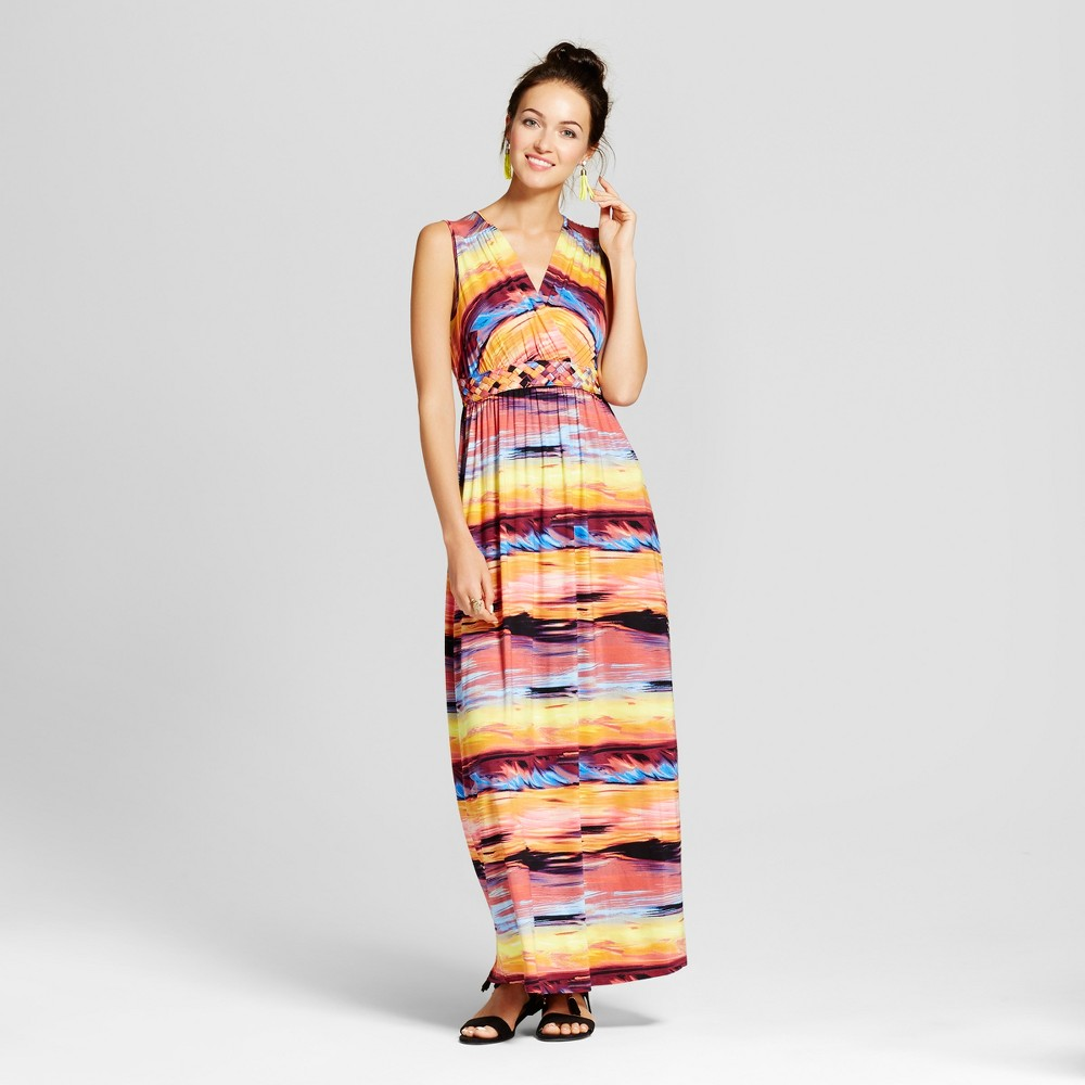 Womens Printed Maxi Dress with Knotted Belt - Spenser Jeremy S, Orange
