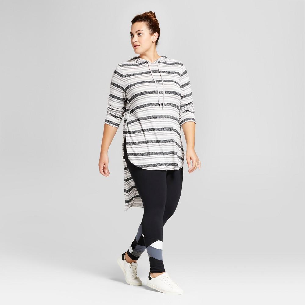 Womens Plus Size Stripe Side Split Hoodie - Ava & Viv Gray 3X