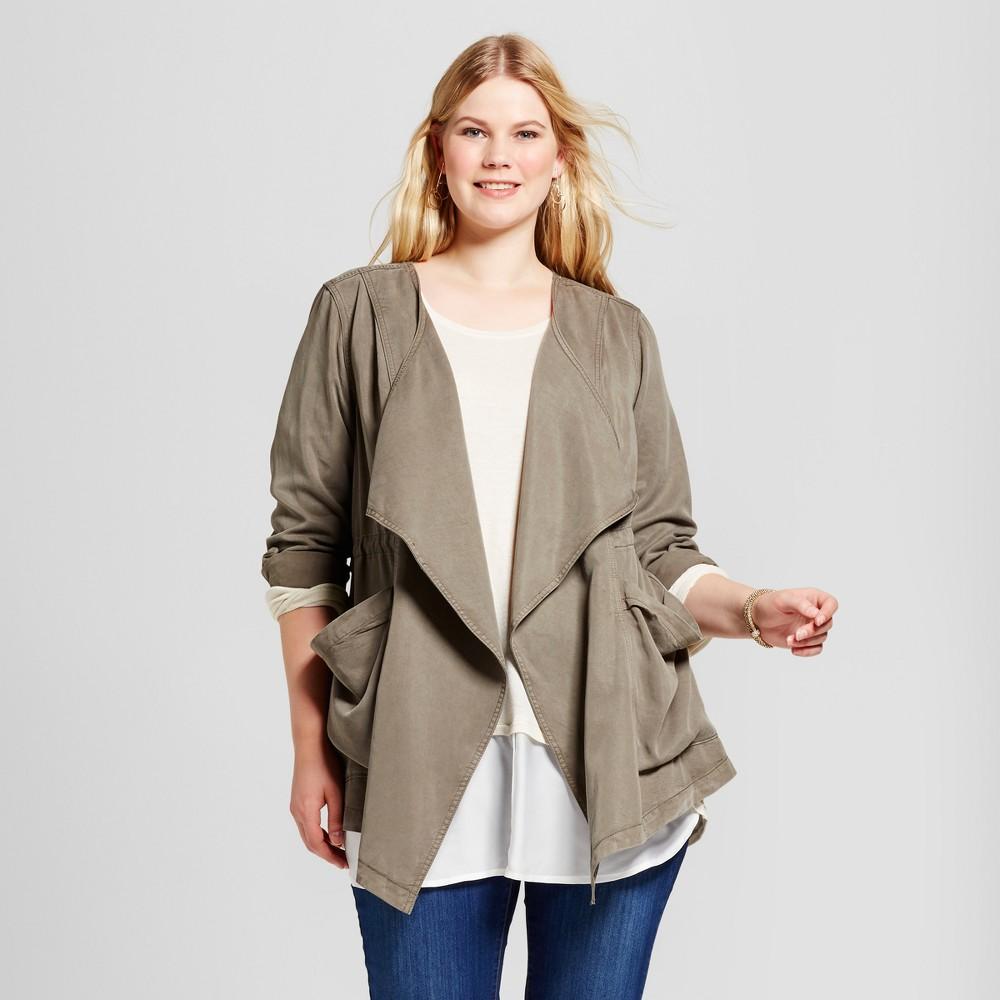 Womens Plus Size Drapey Anorak Jacket - Ava & Viv Olive 4X, Green