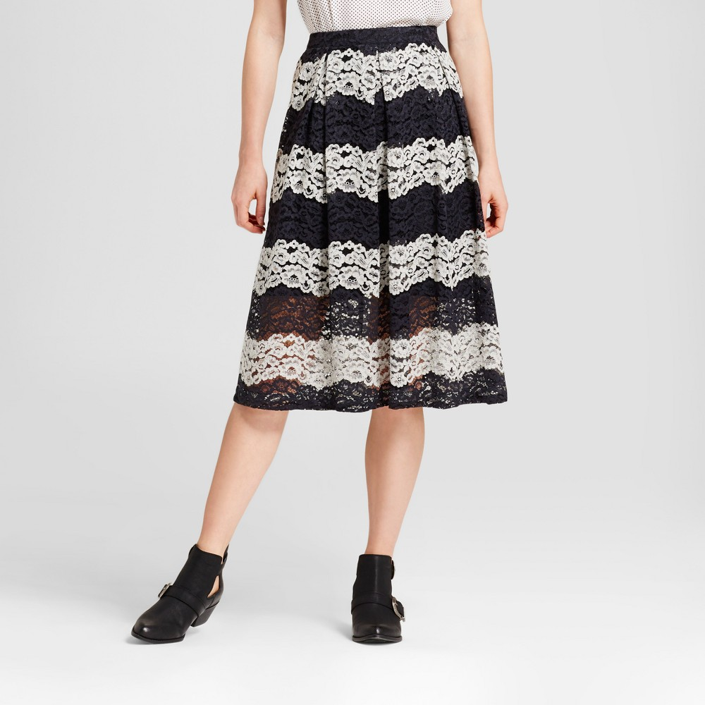 Womens Lace Midi Skirt - Who What Wear Black Stripe 2
