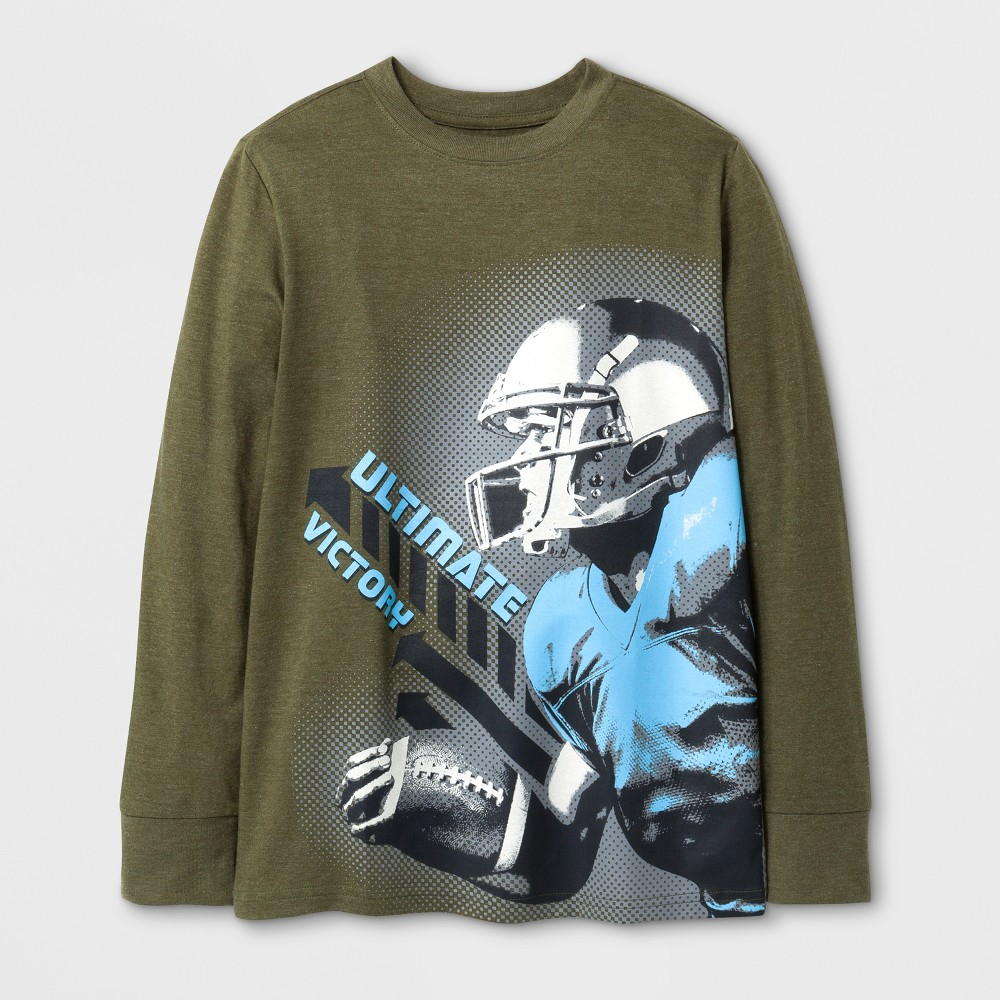 Boys Long Sleeve Football Graphic T-Shirt - Cat & Jack Green XS