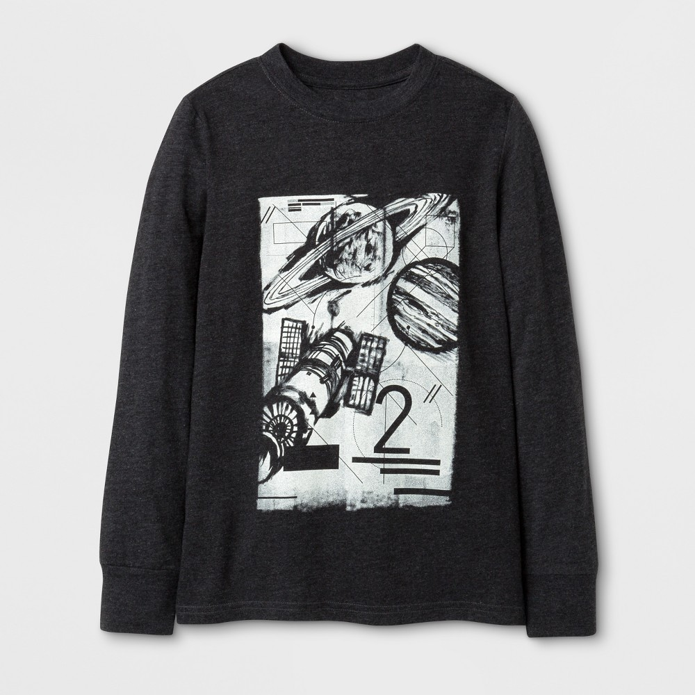 Boys Long Sleeve Space Graphic T-Shirt - Cat & Jack Black L