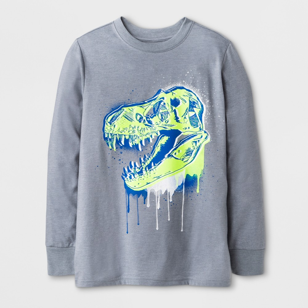 Boys Long Sleeve Dinosaur Graphic T-Shirt - Cat & Jack Gray Xxl