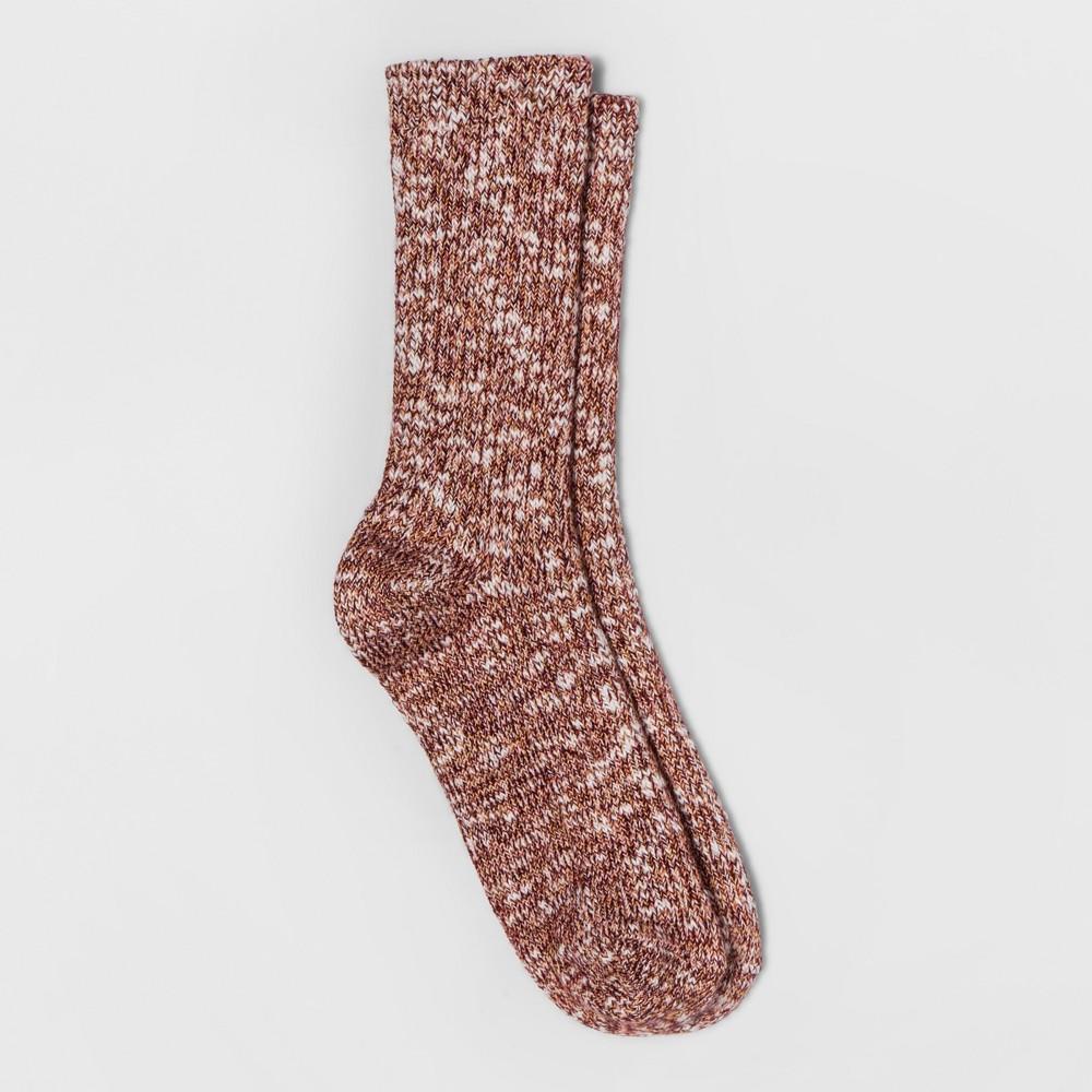 Womens Super Soft Melange Crew Boot Socks - A New Day Red Melange One Size