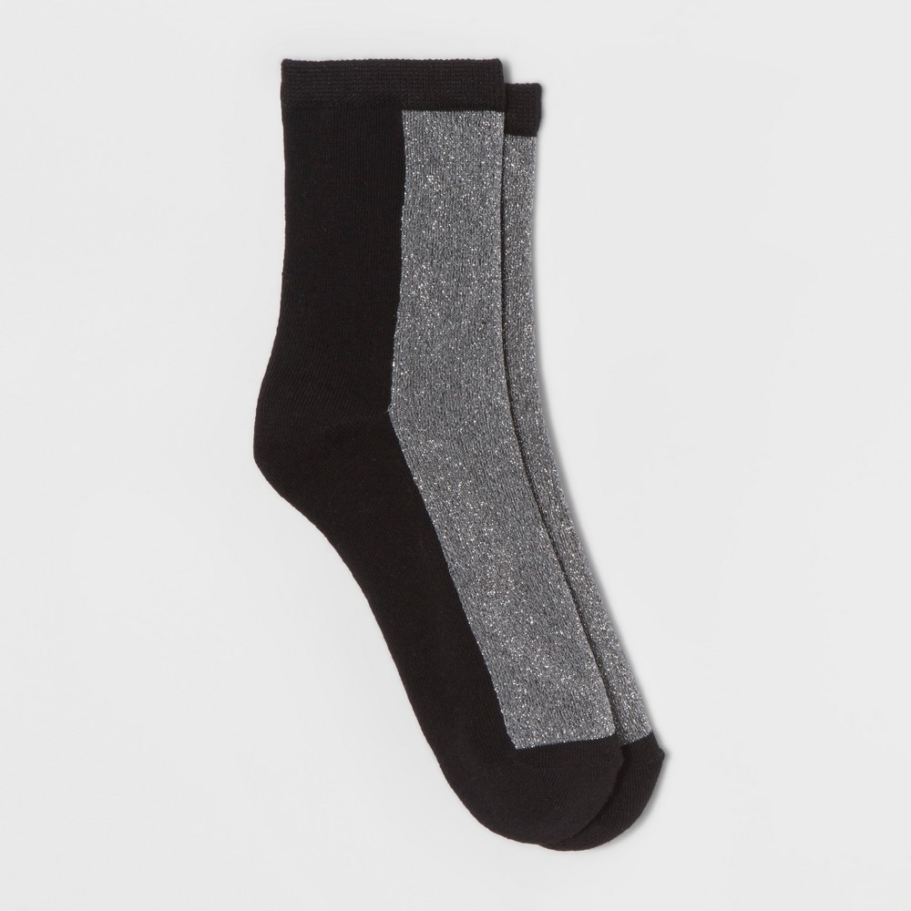 Womens Shimmer Block Crew Socks - A New Day Black One Size