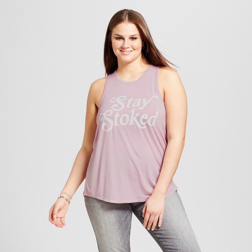 Womens Plus Size Stay Stoked Graphic Tank Top Purple 1X - Grayson Threads (Juniors)