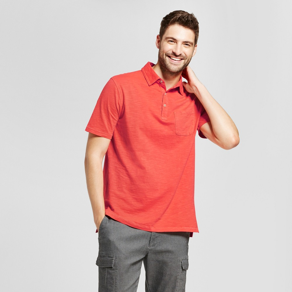 Mens Standard Fit Short Sleeve Solid Jersey Polo Shirt - Goodfellow & Co Orange M