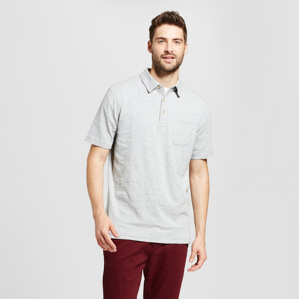 Mens Standard Fit Short Sleeve Solid Jersey Polo Shirt - Goodfellow & Co Gray M