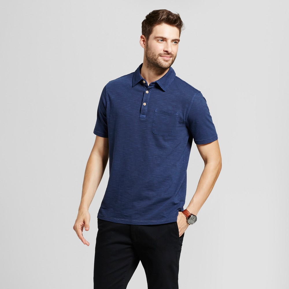 Mens Standard Fit Short Sleeve Solid Jersey Polo Shirt - Goodfellow & Co Navy (Blue) L